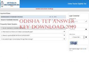 Odisha TET Answer Key 2019