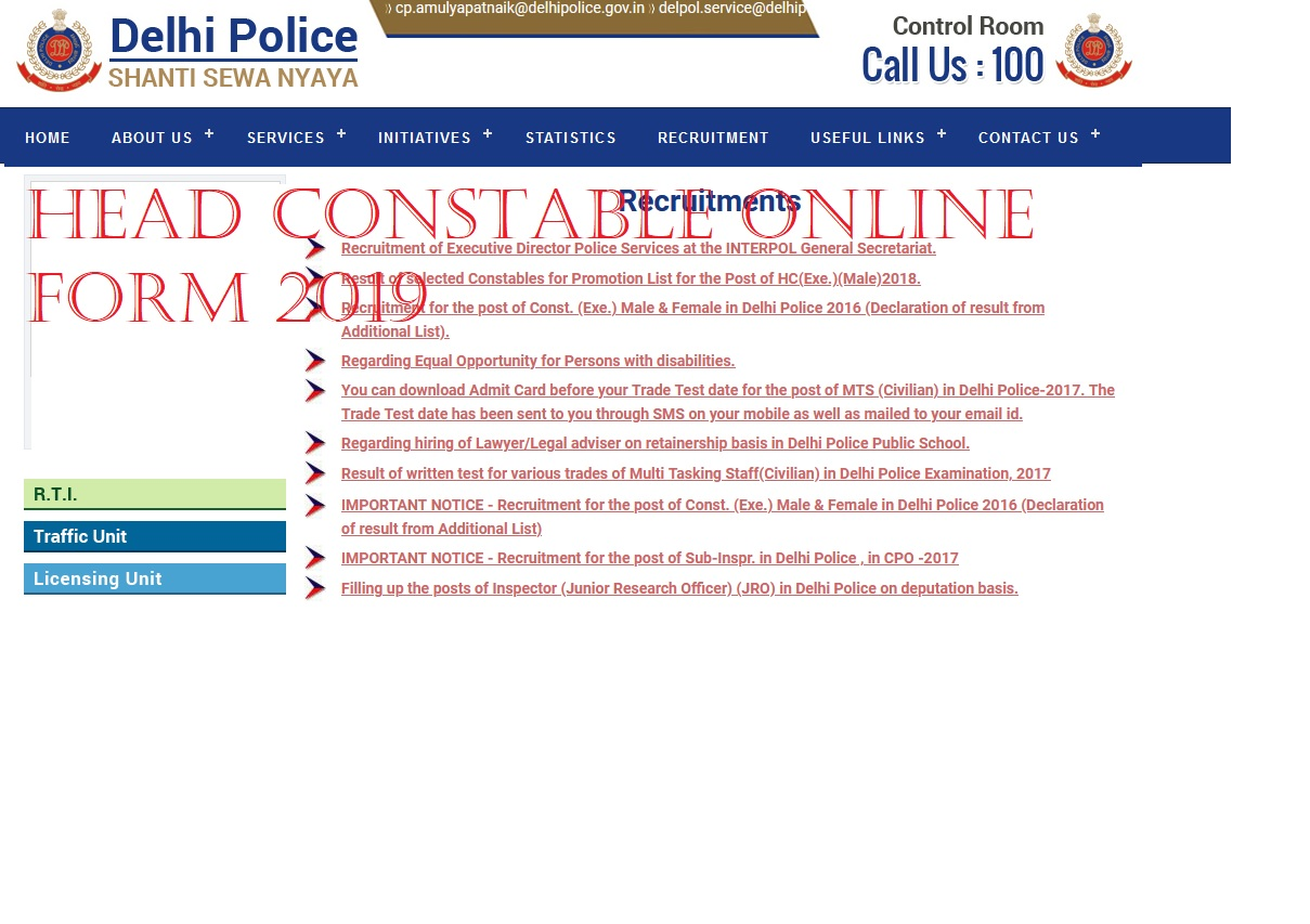 Delhi Police Head Constable Apply Online 2019 for 554 Post