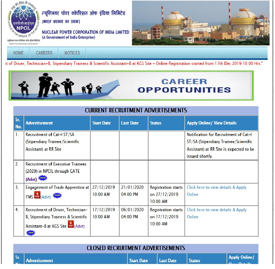NPCIL Nuclear Power Corporation of India Ltd Online Form 2020