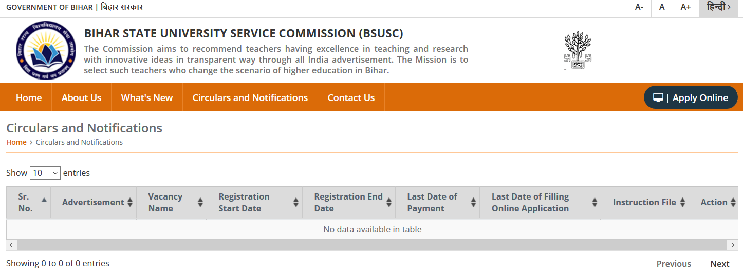 BSUSC Bihar Assistant Professor Online Form 2020 for Post 4638