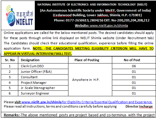 NIELIT Shimla Online Form 2020 For 11 Various Post