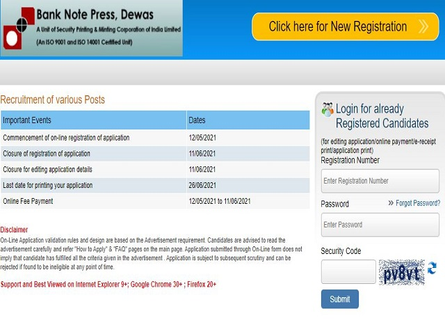 Bank Note Press Various Post Dewas Online Form 2021 for 135 Post
